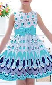 토들러 여아 활동적 / 단 일상 컬러 블럭 리본 / 프린트 민소매 드레스 옐로우