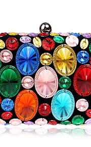 Naisten Kristallikoristelu Iltalaukku Rhinestone Crystal iltapusseja Polyesteri / ABS + PC Kulta / Purppura / Sateenkaari