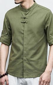 Муж. Рубашка Лён, Воротник-стойка Однотонный Бежевый XL / Длинный рукав