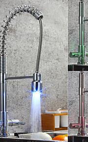 Grifería de Cocina - Moderno Cromo Alto, Alto, Arco / Boquilla estándar Pull-out / Pull-down Conjunto Central
