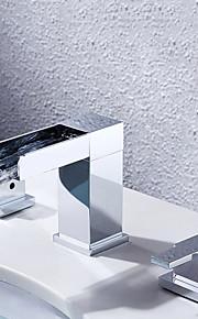 バスルームのシンクの蛇口 - 滝状吐水タイプ クロム 組み合わせ式 二つのハンドル三穴