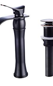 욕실 싱크 수도꼭지 - 워터팔 오일럽된 브론즈 페인팅 블랙 주방,욕조수전(Centerset) 싱글 핸들 하나의 구멍
