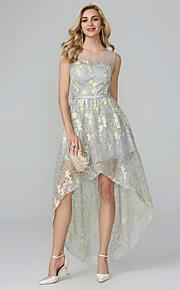 5ccdd094898 Γραμμή Α Scoop Neck Ασύμμετρο Οργάντζα Κοκτέιλ Πάρτι / Χοροεσπερίδα Φόρεμα  με Κέντημα με TS Couture