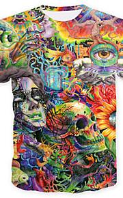 Муж. С принтом Большие размеры - Футболка Круглый вырез Череп / Классический Геометрический принт / Контрастных цветов / Черепа Зеленый XL / С короткими рукавами / Лето