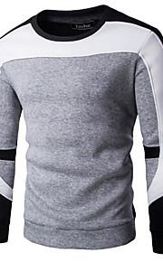 男性用 ストリートファッション パンツ - カラーブロック ホワイト / ラウンドネック / 長袖 / 春 / 夏