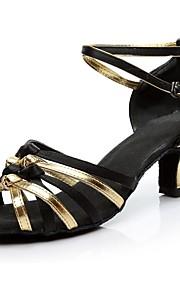 Mujer Latino Seda Tacones Alto Interior Entrenamiento Tacón Personalizado Negro y Oro Personalizables