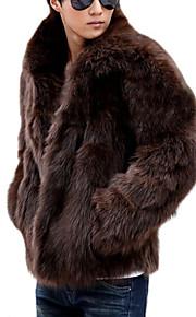 男性用 日常 / 週末 クラシック風 冬 レギュラー コート, ソリッド シャツカラー 長袖 フェイクファー ホワイト / ブラック / Brown XL / XXL / XXXL