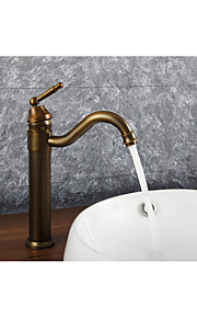 バスルームのシンクの蛇口 - 組み合わせ式 回転可 アンティーク真鍮 デッキマウント シングルハンドルつの穴