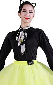 Латино Балетное трико Жен. Учебный Ice Silk (искусственное волокно) Корсет Длинный рукав трико / Комбинезон-пижама