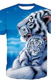 Муж. С принтом Футболка Круглый вырез Активный Животное Тигр Синий XL / С короткими рукавами / Лето