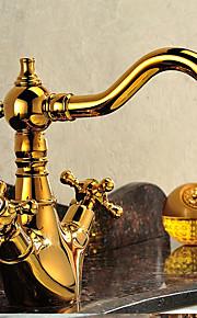 バスルームのシンクの蛇口 - 滝状吐水タイプ Ti-PVD 洗面ボウル シングルハンドルつの穴