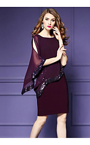 Women's Plus Size Going out Sophisticated Chiffon Dress - Solid Color, Sequins