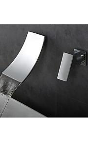 バスルームのシンクの蛇口 - 滝状吐水タイプ 組み合わせ式 クロム 壁式 シングルハンドル二つの穴