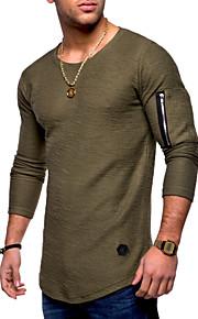 Hombre Básico Algodón Camiseta, Escote Redondo Un Color Negro XL / Manga Larga