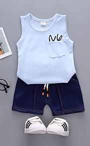 Çocuklar Toddler Genç Erkek Actif Temel Günlük Tatil Solid Desen Kolsuz Normal Pamuklu Akrilik Kıyafet Seti Doğal Pembe