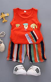 Çocuklar Toddler Genç Erkek Actif Temel Günlük Tatil Çizgili Desen Desen Kolsuz Normal Pamuklu Akrilik Kıyafet Seti Beyaz