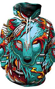 男性用 ベーシック / 誇張された プラスサイズ ルーズ パンツ - 3D / カートゥン オオカミ, プリント グリーン / フード付き / 長袖 / 秋