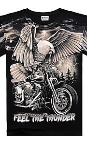 男性用 クラブ - プリント Tシャツ 誇張された ラウンドネック スリム カラーブロック / 動物 / レタード コットン / 半袖