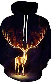 Муж. Активный / преувеличены Большие размеры Свободный силуэт Брюки - 3D / Мультипликация С принтом Черный / Рождество / Капюшон / Длинный рукав / Осень / Зима