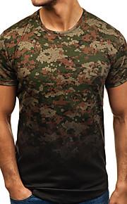 T-shirt Per uomo Sport Essenziale / Militare Con stampe, Monocolore / Camouflage Rotonda - Cotone Nero XL / Manica corta / Taglia piccola