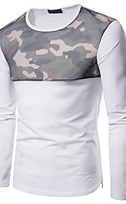 Majica s rukavima Muškarci - Osnovni Dnevno / Vikend Color block / kamuflaža Okrugli izrez Mrežica / Kolaž Obala L / Dugih rukava