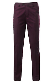 Муж. Классический Тонкие Костюм Брюки - Однотонный Завышенная Красный