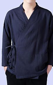 Муж. Большие размеры - Рубашка Лён Уличный стиль Однотонный Темно синий XL / Длинный рукав