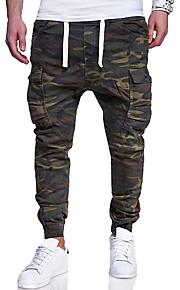 男性用 ベーシック プラスサイズ スリム スウェットパンツ / カーゴパンツ パンツ - カモフラージュ プリント アーミーグリーン / 週末