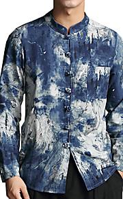 Муж. Рубашка Лён Контрастных цветов Синий XXL / Воротник-стойка / Длинный рукав / Осень