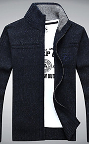 Hombre Diario Un Color Manga Larga Corte Ancho Regular Cardigan, Escote Chino Verde Trébol / Blanco / Gris XL / XXL / XXXL