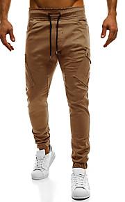 Hombre Básico Algodón Delgado Pantalones de Deporte Pantalones - Un Color Azul Marino / Primavera / Otoño