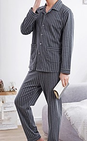 Муж. Квадратный вырез Костюм Пижамы - С принтом, Геометрический принт