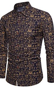 Hombre Chic de Calle / Tejido Oriental Discoteca Tallas Grandes Estampado Camisa Delgado Bloques Azul Marino XXXL / Piel Sintética / Manga Larga