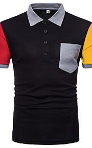 男性用 スポーツ Polo シャツカラー カラーブロック コットン / 半袖