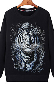 Erkek Sokak Şıklığı Büyük Bedenler Salaş Pantolon - 3D Kaplan, Desen Siyah / Yuvarlak Yaka / Spor / Uzun Kollu / Sonbahar / Kış