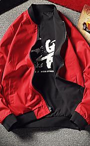 Ανδρικά Καθημερινά Κομψό στυλ street Φθινόπωρο & Χειμώνας Μεγάλα Μεγέθη Κανονικό Σακάκι, Contemporary Στρογγυλή Λαιμόκοψη Μακρυμάνικο Πολυεστέρας Μαύρο / Ρουμπίνι XXXL / XXXXL / XXXXXL / Φαρδιά