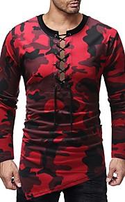 Majica s rukavima Muškarci - Osnovni Dnevno Pamuk Color block / kamuflaža Okrugli izrez Print Red L / Dugih rukava