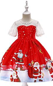 아동 / 토들러 여아 빈티지 / 활동적 크리스마스 / 파티 / 홀리데이 카툰 짧은 소매 무릎길이 드레스 루비