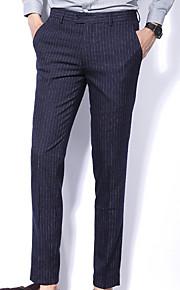 男性用 ストリートファッション スリム スーツ パンツ - ストライプ ブルー