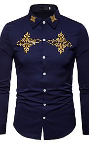 Heren Zakelijk / Vintage / Standaard Geborduurd Overhemd Werk Effen / Kleurenblok Slank Wit L / Lange mouw