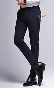 男性用 スリム スーツ パンツ - ソリッド ハイウエスト ブラック