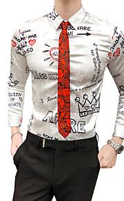 Hombre Vintage Camisa, Cuello Inglés Delgado Bloques / Letra Blanco XL / Manga Larga / Otoño