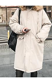 男性用 日常 ソリッド ロング パーカー, ポリエステル 長袖 フード付き ブラック / オレンジ / ライトグレー L / XL / XXL / ルーズ