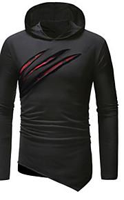 Herrn Solide / camuflaje T-shirt, Mit Kapuze Schwarz XL / Langarm