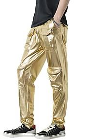男性用 ベーシック / ストリートファッション ブーッカット / チノパン パンツ - ソリッド / レオパード ゴールド / パーティー / クラブ