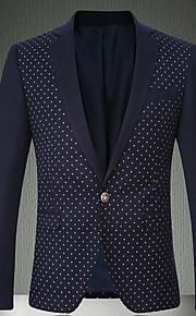 男性用 ワーク ストリートファッション レギュラー ブレザー, 水玉 / 波点 シャツカラー 長袖 ポリエステル ネイビーブルー / グレー L / XL / XXL / スリム