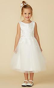 64fdbc6dba47 69 Γραμμή Α Κάτω από το γόνατο Φόρεμα για Κοριτσάκι Λουλουδιών - Δαντέλα    Τούλι Αμάνικο Με