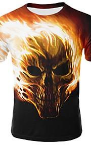 Miesten Pyöreä kaula-aukko Puuvilla Painettu 3D Perus Pluskoko - T-paita Keltainen XXL / Lyhythihainen