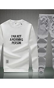 Hombre Activo / Chic de Calle Pantalones - Letra Estampado Blanco / Escote Redondo / Manga Larga / Invierno