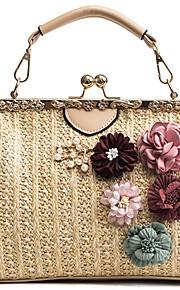 abe0b52b22 Γυναικεία Τσάντες Άχυρο Τσάντα χειρός Λουλούδι Μαύρο   Μπεζ   Χακί